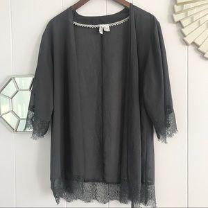 H&M Gray Sheer Cardigan Lace Detail Sz 8